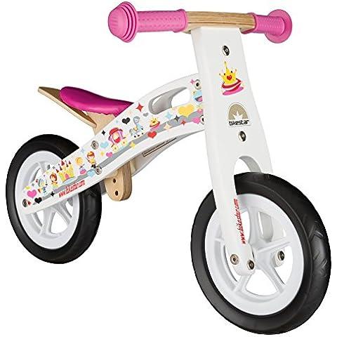 BIKESTAR® 25.4cm (10 pulgadas) Bicicleta sin pedales para pequeños aventureros a partir de 2 años ★ Edición de madera natural ★ Blanco ★ Diseño de la Princesa