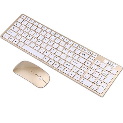 BAIYI Kabellose Tastatur Stummschaltung von Tastatur und Maus Ultradünnes Flugzeug Tipps für schwaches Licht Geeignet für Game Office für Notebook Smart TV,Gold
