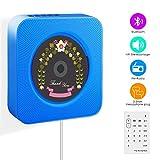 Wrcibo Reproductor de CD, Montaje en Pared Audio CD Player para el hogar con Control Remoto Construido en Altavoces HiFi USB MP3 3.5mm Auriculares Jack AUX Entrada/Salida, Azul