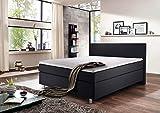 lifestyle4living Boxspringbett 140x200 grau anthrazit mit Kopfteil | Doppelbett mit Bonell-Federkern-Matratze, Härtegrad H2