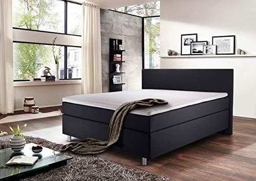 lifestyle4living Boxspringbett 140x200, grau anthrazit, Stoff | Entspannter schlafen auf dem modernen Doppelbett komplett mit Kopfteil, inkl. Viscoschaum-Topper