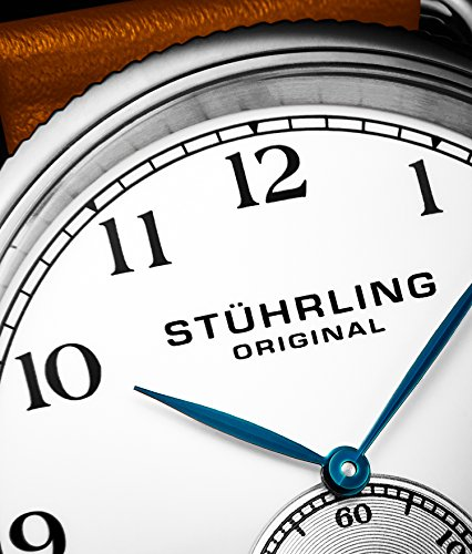 Stuhrling Original Décor Men's Quartz Watch with White Dial Analogue Display and Brown Leather Strap 207.01