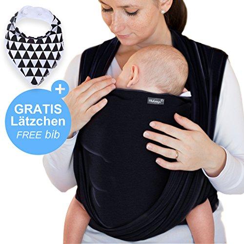 Makimaja - Portabebés gris negro - portabebés de alta calidad para recién nacidos y bebés hasta 15 kg - hecho de algodón suave - incluye bolsa para guardar y babero