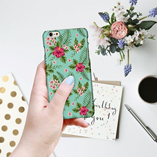 botanique Tropical hawaïen Fleur Floral hawaïen étuis de téléphone pour iPhone modèles, plastique, 3: Denim Blue Tropical Island Parrots on White, iPhone 6 / 6S - Slim Case 6: Pink Hibiscus and Palm Fronds on Turquoise