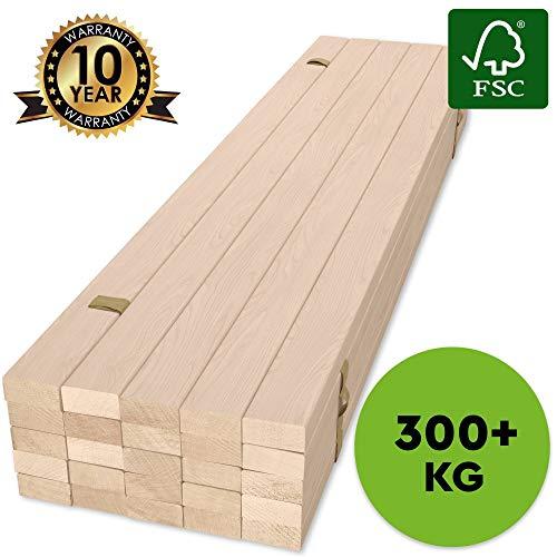 Hansales Rollrost 90x200cm - 300 kg 25 Leisten - Hochwertiger Extra starker Rollattenrost aus echtem Birkenholz - FSC Lattenrost unbehandelt - Lattenrollrost Premium