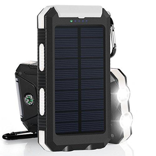 10000mAh Cargador Solar Impermeable, Batería Externa Portátil con 2 LED para para...