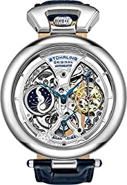 Stührling Original Mens Skeleton Watch Dial Automatic Watch with Calfskin Leather Band and - Dual Time, AM/PM