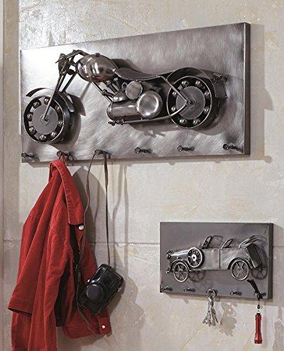 Wandgarderobe Motorrad in 3D Optik mit 6 Garderobenhaken; Maße: 80x16x35 cm