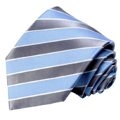 LORENZO CANA - Blau Silber Streifen Krawatte aus 100% Seide - Markenqualität in italienischer Tradition - 84339