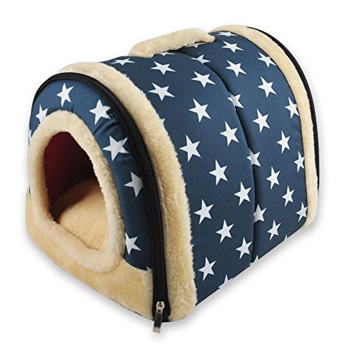 ANPI 2 en 1 Casa y Sofá para Mascotas, Estrella Blanca Lavable a Máquina Casa Cama de Perro Gato Puppy Conejo Mascota Antideslizante Plegable Suave Calentar Con Cojín Extraíble Colchón, Pequeño