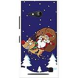 Babbo Natale Fun & Frolics cover/custodia per Nokia cellulari, PLASTICA, Santa Riding Red Nose Rudolph, Nokia Lumia 730