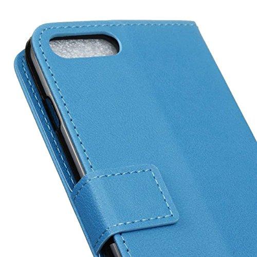 Solid Color Kas Texture Motif Housse de protection en cuir Housse Horizontal Case Flip Avec Slots de carte pour IPhone 7 Plus ( Color : Black , Size : IPhone 7 Plus ) Blue
