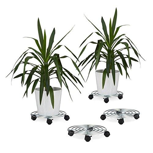 4x Pflanzenroller, Blumenroller mit Bremse, rund, Blumentopfuntersetzer aus Stahl, HBT: ca. 6 x 32 x 32 cm, silber -