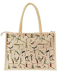 RangTeq Women's Printed Jute Tote Bag(Beige)