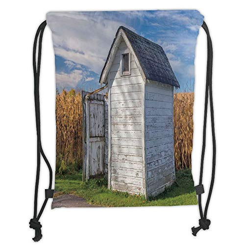 Drawstring Backpacks Bags,Outhouse,Country Farm Life Cottage with Wheat and Grass Under Sky Image,Marigold Green Blue and White Soft Satin,5 Liter Capacity,Adjustable String Closur - Cottage White Queen