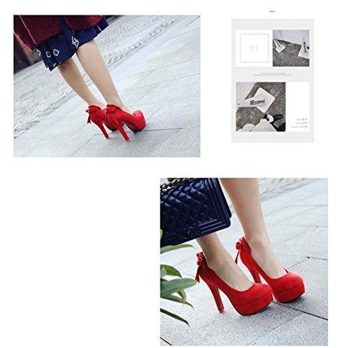 Chaussures De Mariée Chaussures De Plate-forme Avec Talon En Forme D'arc Mariage Chaussures De Sport Avec Bouche Peu Profonde Rouge
