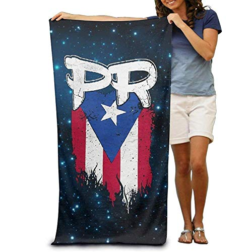 Microfiber Sand Free Beach Towel Blanket, Absorbent Lightweight Thin Towels, Puerto Rico PR Flag Boricua Adults Bath Towel 31x51 Inches -