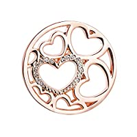 U&D Hearts Women�??s Pendants 25mm Coin Rosegold Plated For Interchangeable Coin Pendant Necklace