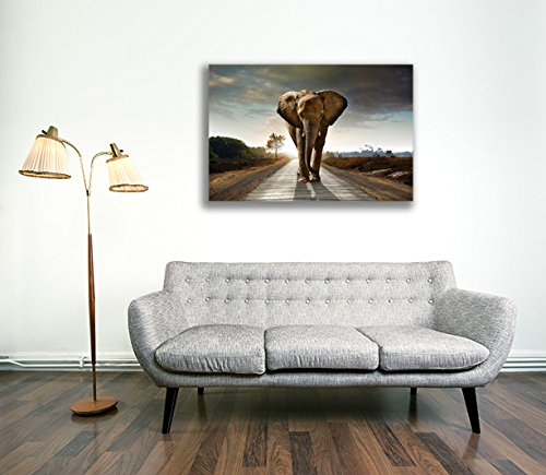 Canvas Culture - Elephant Landscape Canvas Art Print Box Framed Picture 6 Original 90 x 60cm