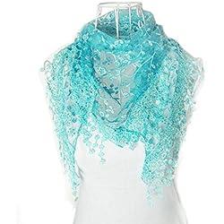 Bufandas para Mujer,Xinan Encaje Borla Impresión Floral Triángulo Mantilla Mantón Bufanda (Azul)