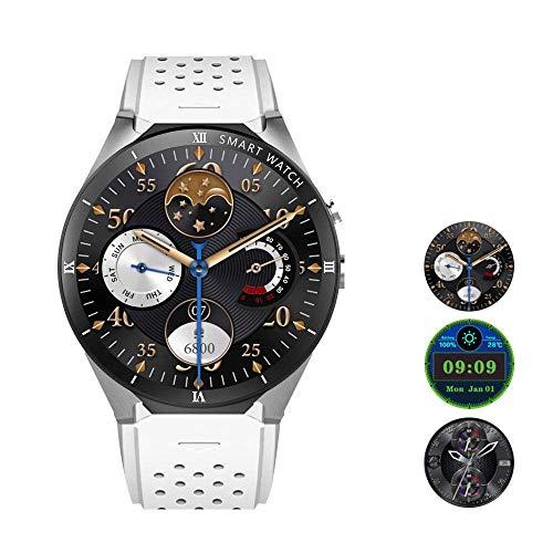 Smart Watch Sensor Smartwatch Wrist Watch (Android Wear GPS Wear OS von Google) Sports Watch kompatibel mit Android Multilayer Display und Leder-Strap White,White Google Android Gps