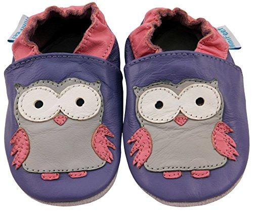 MiniFeet Premium Weich Leder Babyschuhe - Verschiedene Stile - Jungen und Mädchen BabySchuhe - Neugeborene bis 3-4 Jahre Olive die Lila Eule