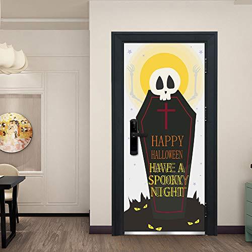 liwendi Horror Skeleton Grabstein Halloween Kreative 3D Tür Aufkleber Persönlichkeit Türaufkleber Dekoration DIY Wandaufkleber 77 cm * 200 cm