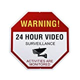 UnionCam SS1 Video Surveillance Sign Octagon Rust Free Waterproof Aluminum No Trespassing Security Sign 12' X 12' Reflective Works with Home Monitoring and Surveillance System, Security Camera, Home Surveillance System
