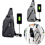Pinkfishs IPRee ? USB Charging Canvas Chest Bag Travel Business Messenger Shoulder Sling Fanny Pack Pouch - Schwarz
