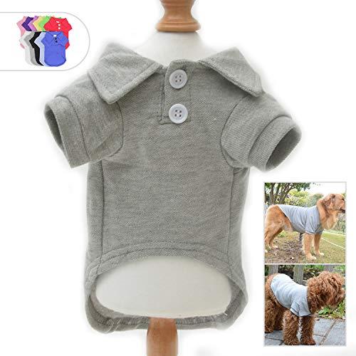 Lovelonglong Basic Hundepoloshirt, Premium Baumwolle, Polo-Shirt für große, mittelgroße und kleine Hunde mit Einem Kragen mit 2 Knöpfen, unifarben, XXXL, grau