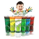 Hapree 6 Farben Fingerfarbe, waschbar, ungiftig für Kinder, Fingerpaints-Kit für Kleinkinder, 6 x 30 ml (1,02 FL. Oz)