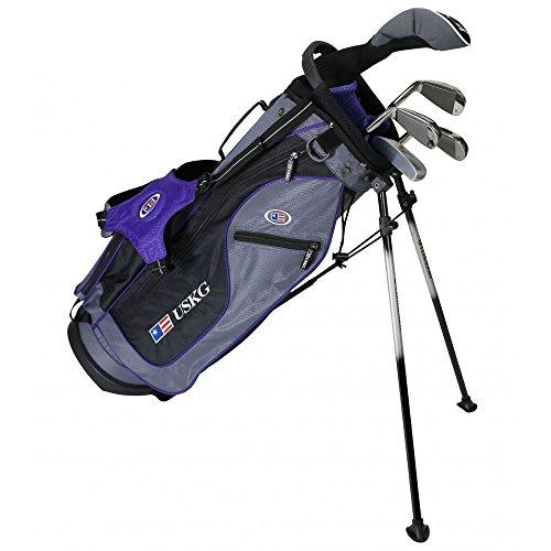 U.S. Kids Golf, ultra-leichtes Golf-Set mit 5-Club-Ständer und Tasche, 137,2cm Höhe, Kinder, 23560, Grau / Violett, 54