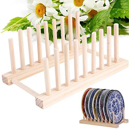 Madera escurreplatos plato escurridor placa soporte plato soporte bandeja de almacenamiento organizador de cocina de bambú
