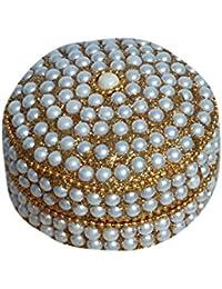 Kuber Industries™ Sindoor Dani Stone & Moti Beaded Jarkan Work|Silver Coin Box|Ethnic Dibbi Set|Jewellery Box|... - B078HGDWMF