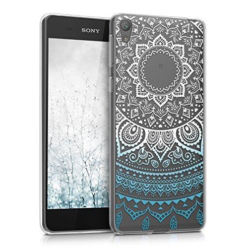 kwmobile Crystal Case Hülle für Sony Xperia E5 aus TPU Silikon mit Indische Sonne Design - Schutzhülle Cover klar in Blau Weiß Transparent