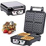 Macchine per Waffle | 4 Waffel belga | Macchinetta per Waffel XXL | Waffel doppie di Bruxelles | termostato | regolazione infinitamente regolabile della temperatura | 1100 W