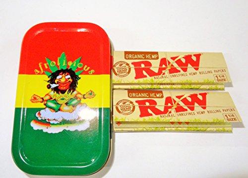 Unzen afrolicious Rauchen Emotionen Tabak/Pocket/Stash Tin + 2Hefte Raw Organic Größe 1/1–4Combo von Trendz