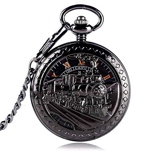 JHYMM Taschenuhr Exquisite Männer Frauen Schwarz Laufen Lokomotive Taschenuhr Mechanische Skeleton Hand Wind Uhr Antike Anhänger (Uhren Hand Antike)
