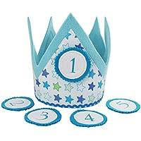 Geburtstagskrone für Kinder, Stoffkrone mit Wechselbuttons - Modell: Hellblau mit Sternen | Kinder-Geburtstags-Krone für Jungs und Mädchen | Kindergeburtstag Geburtstagskind - 100% Handarbeit