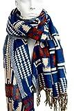Nacy: Stola / Poncho Damen in blau & beige aus Wolle