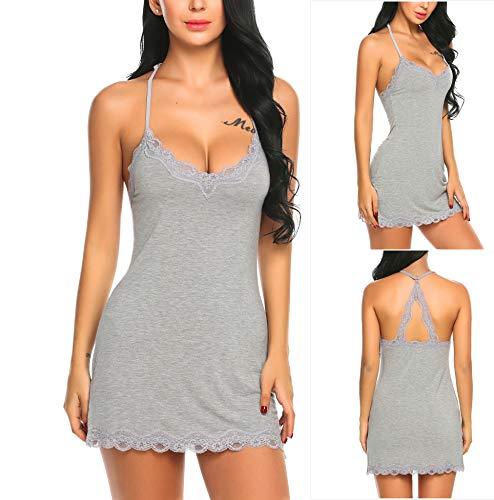 äsche Nachthemd Unterkleid Frauen Spitze Lingerie Nachtkleid Babydoll Dessous Reizwäsche Sleepwear Kleid mit String  XL,  B Hellgrau ()