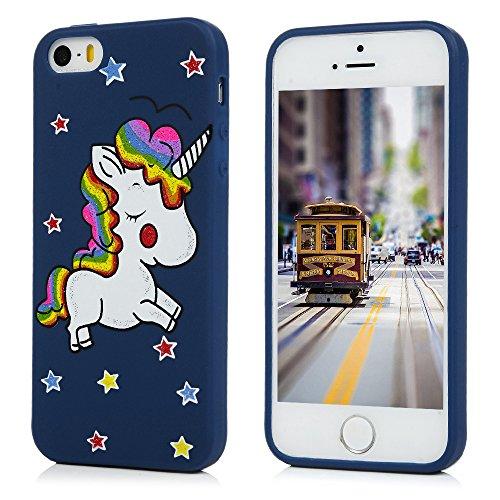 MAXFE.CO Coque iPhone SE iPhone 5S iPhone 5 Coloré Simple en TPU Souple Case Cover - Or Rosé Bleu Foncé