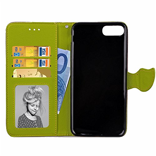 Apple iPhone 7 / iPhone 8 Hülle, SATURCASE Feuille unique PU Lederhülle Ledertasche Magnetverschluss Flip Cover Brieftasche Case Handy Tasche Schutzhülle Handyhülle Hülle mit Standfunktion Kartenfäche Braun