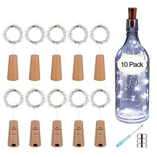 10 x 20 luces LED de corcho de Patiszon, con cadena de luz LED, para botellas, para noche, boda, fiesta, romántica