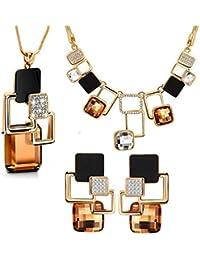4d857bf74455 Mujer Geométrico Cuadrado Cristal Conjunto de Joyas de 3