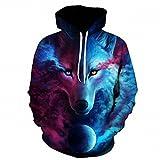 Lupo stampato Hoodies uomini 3D Felpa qualità Plus size Pullover Novità 6XL Streetwear maschio giacca con cappuccio LMS050 L