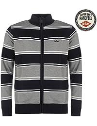 Lee Cooper en tricot avec fermeture Éclair Pull pour homme Bleu marine/gris Sweat Top