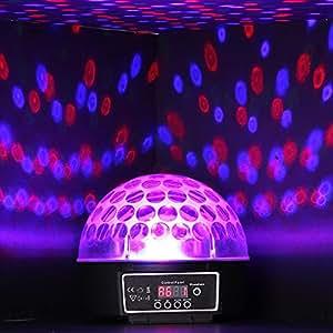 LAMPE DISCO - Demi sphère disco lumineuse rotative à 360° - 8 Jeux de lumière qui varient au son et au rythme de la musique !