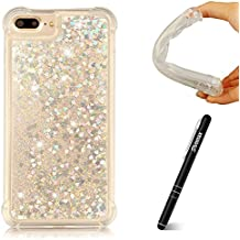 "iPhone 7 Plus (5.5"") Glitter Case Silver, iPhone 8 Plus Case Liquid, Slynmax [Drop Proof Design] Flowing Liquid Quicksand Floating Flowing Bling Shiny Sparkle Cover Glitter Crystal Clear Plastic Soft Flexible TPU Gel Case Silicone Ultra Slim Fit Anti-Drop Shockproof Protective for Girl Women Bumper Back Smart Shell Case for Apple iPhone 7 Plus/iPhone 8 Plus + 1 * Stylus Touch Pen"