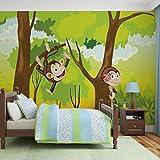Monkeys Jungen-Schlafzimmer - Wallsticker Warehouse - Fototapete - Tapete - Fotomural - Mural Wandbild - (2975WM) - XL - 208cm x 146cm - VLIES (EasyInstall) - 2 Pieces